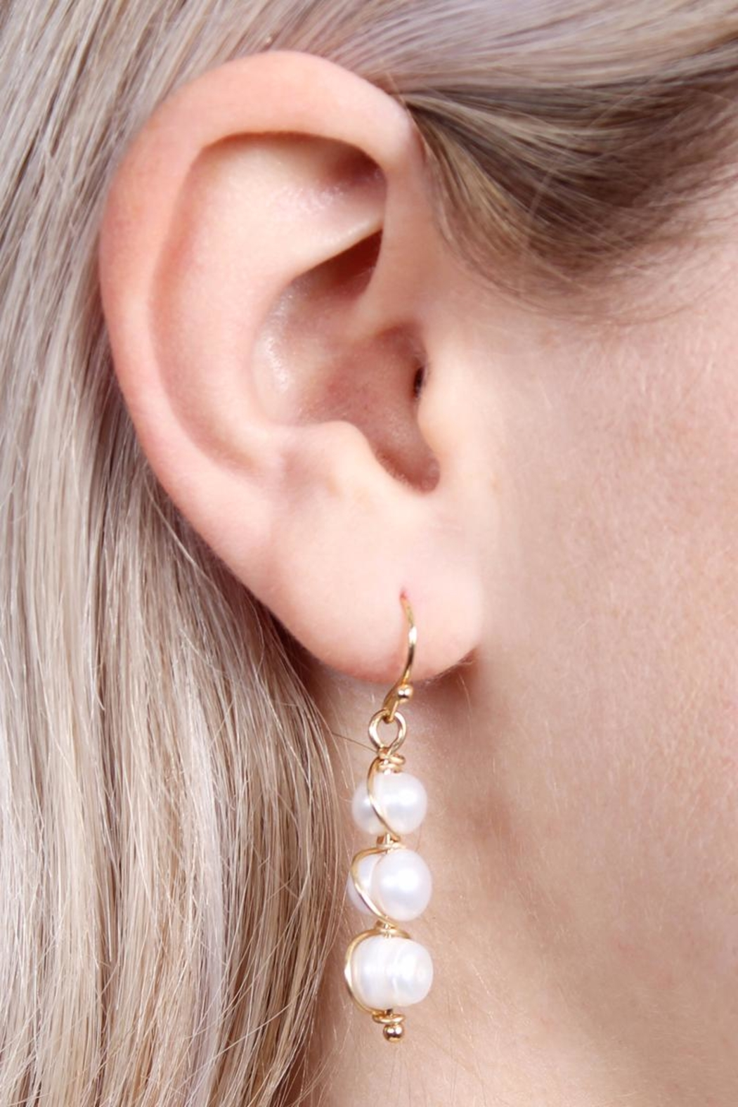 Riah Fashion Pearl-Goldtone Wired Wrap-Earrings - Front Full Image