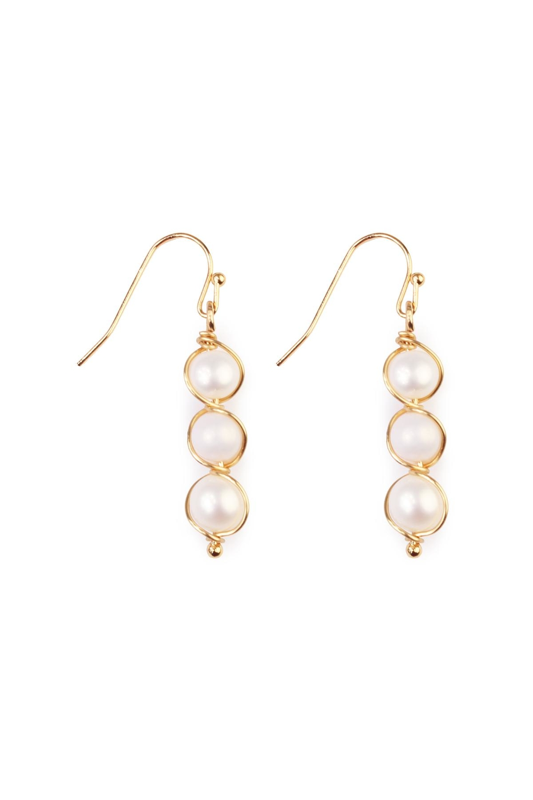 Riah Fashion Pearl-Goldtone Wired Wrap-Earrings - Front Cropped Image