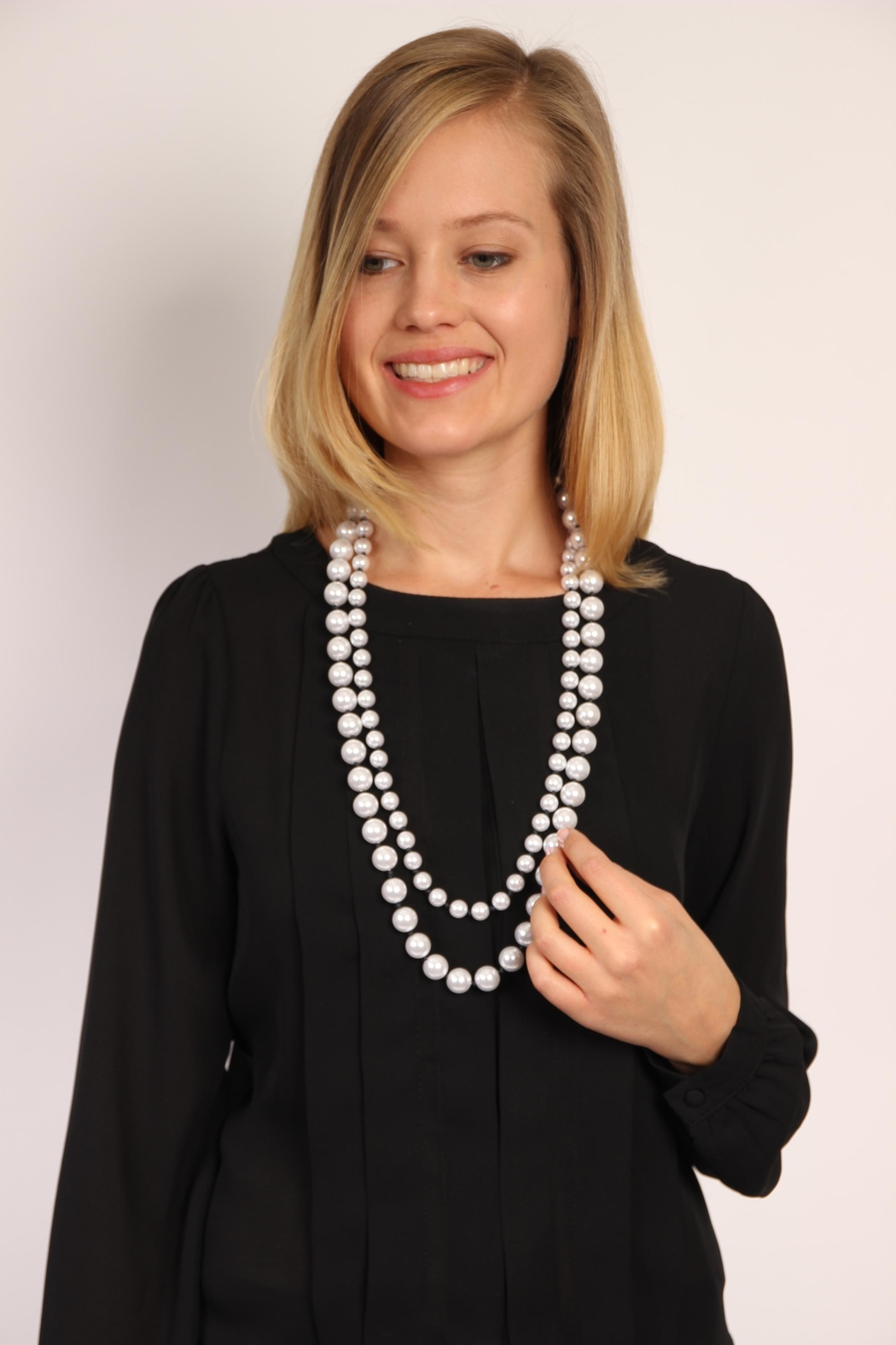 Riah Fashion Pearl Layered Necklace - Front Full Image