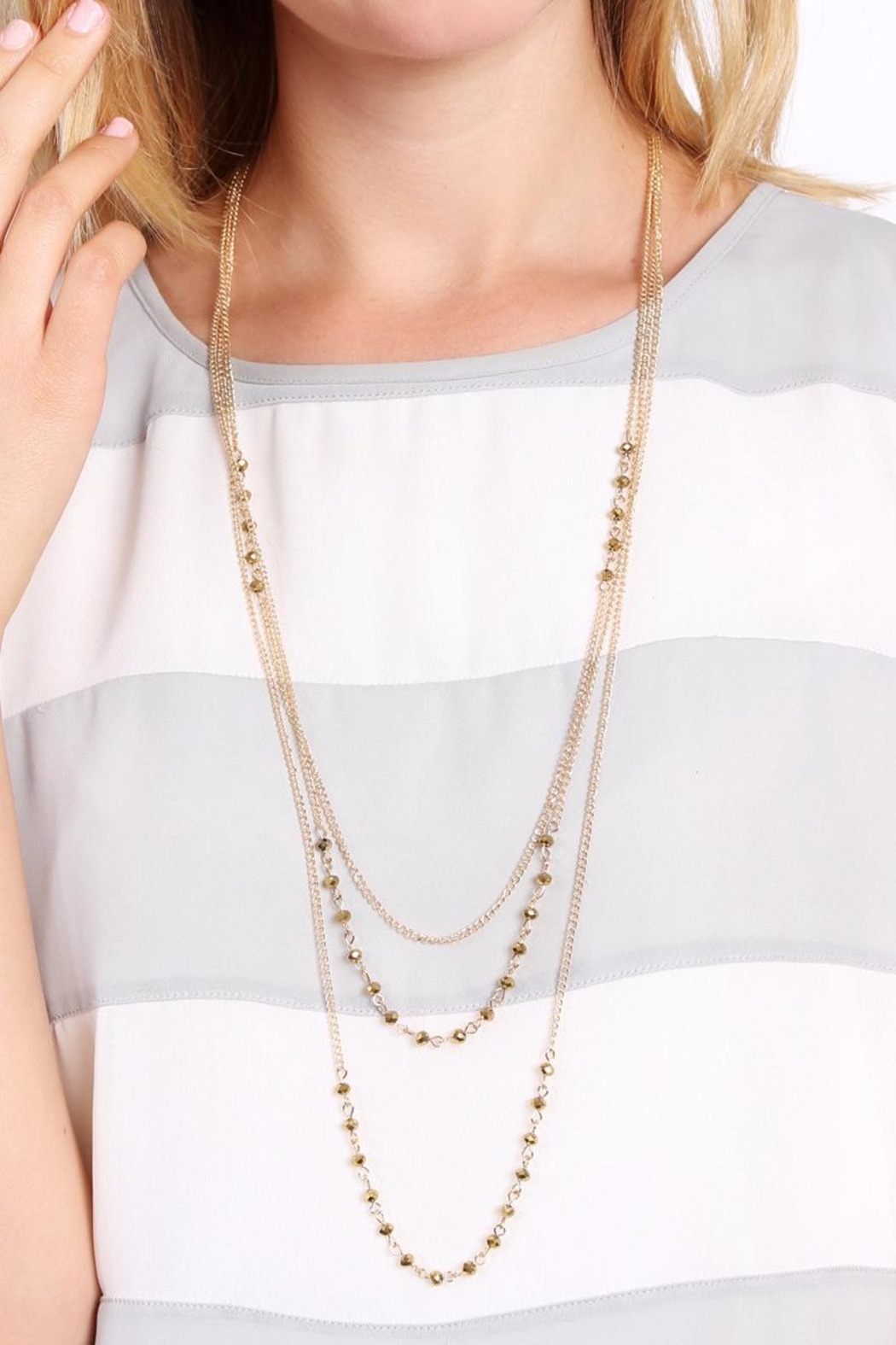 Riah Fashion Pearl Layering Necklace - Front Full Image