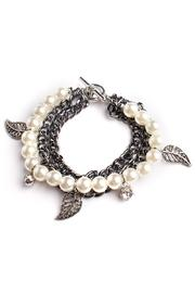 Riah Fashion Pearl & Leaf Bracelet - Product Mini Image