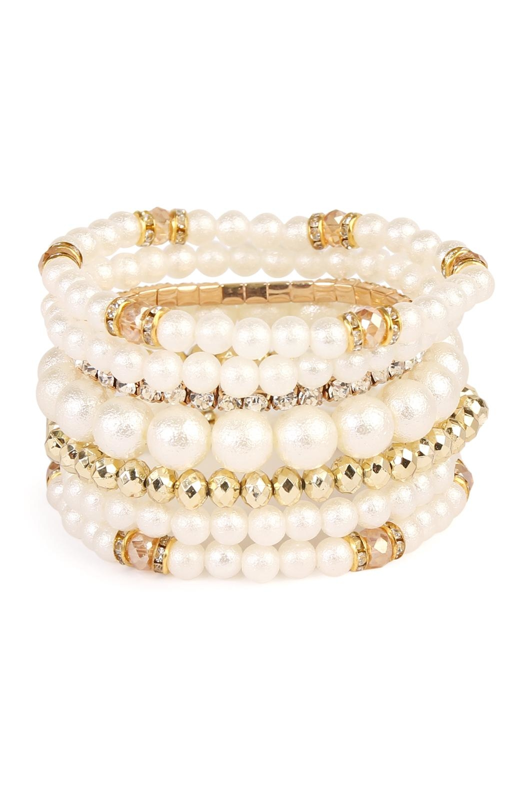 Riah Fashion Pearl Multibeded Bracelet - Front Cropped Image
