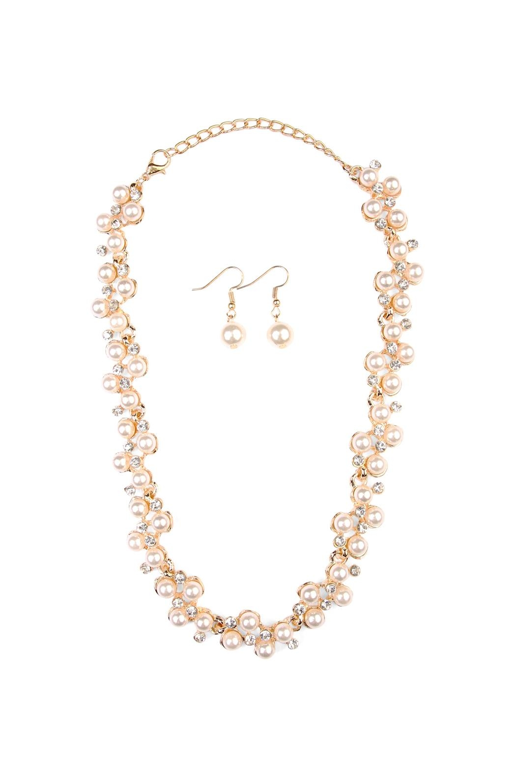 Riah Fashion Pearl Necklace Earrings Set - Main Image