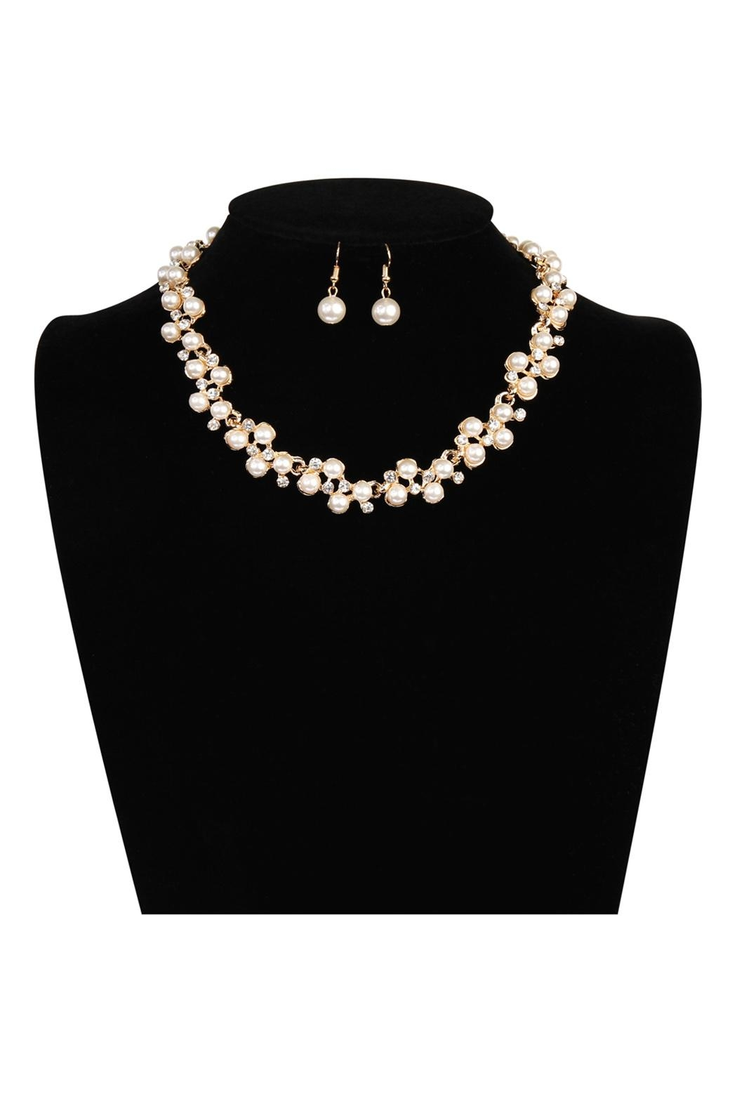 Riah Fashion Pearl Necklace Earrings Set - Back Cropped Image