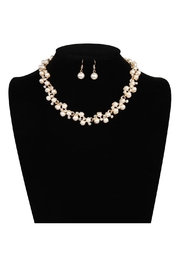 Riah Fashion Pearl Necklace Earrings Set - Back cropped