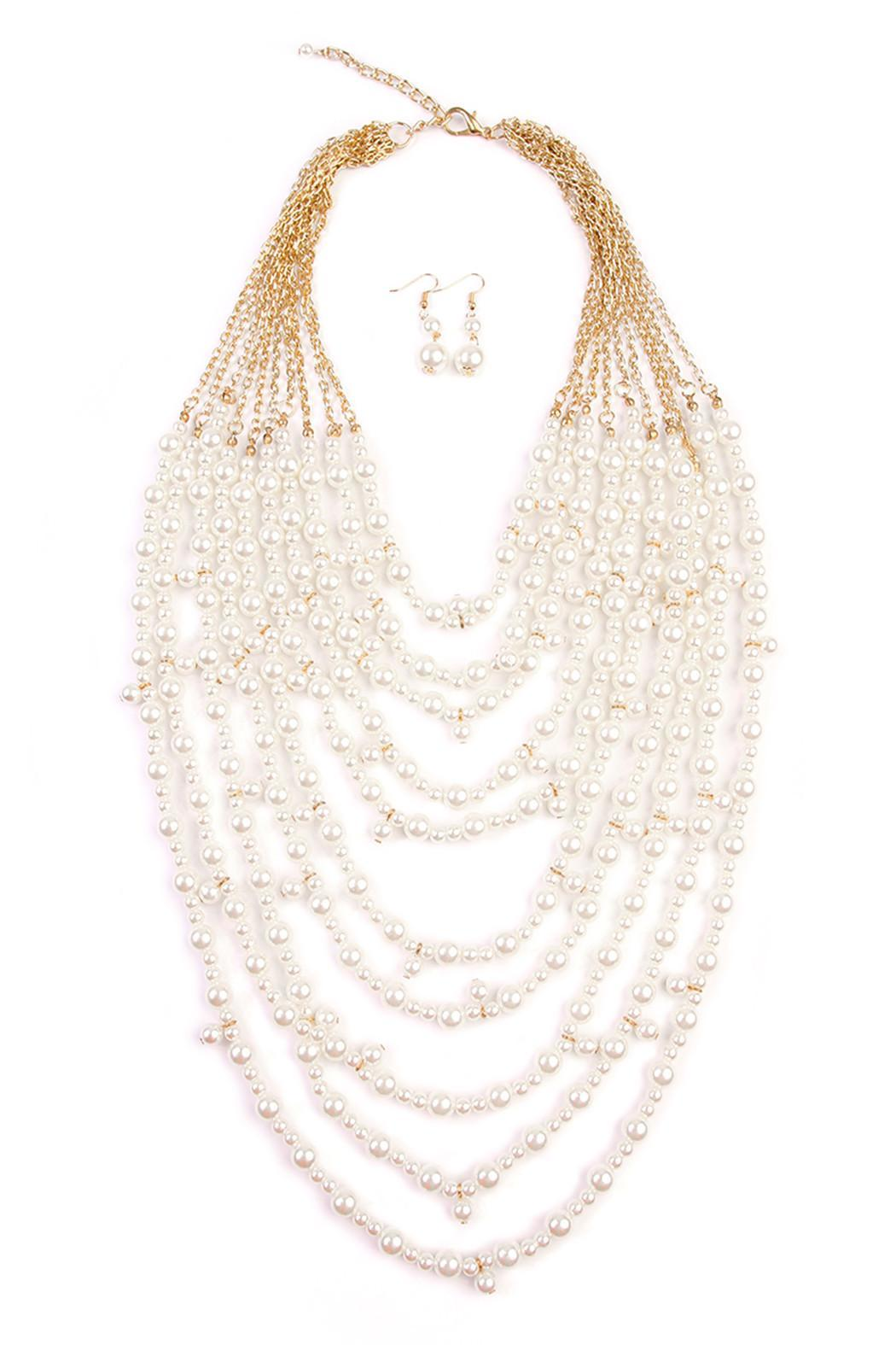 Riah Fashion Pearl Necklace Set - Front Cropped Image