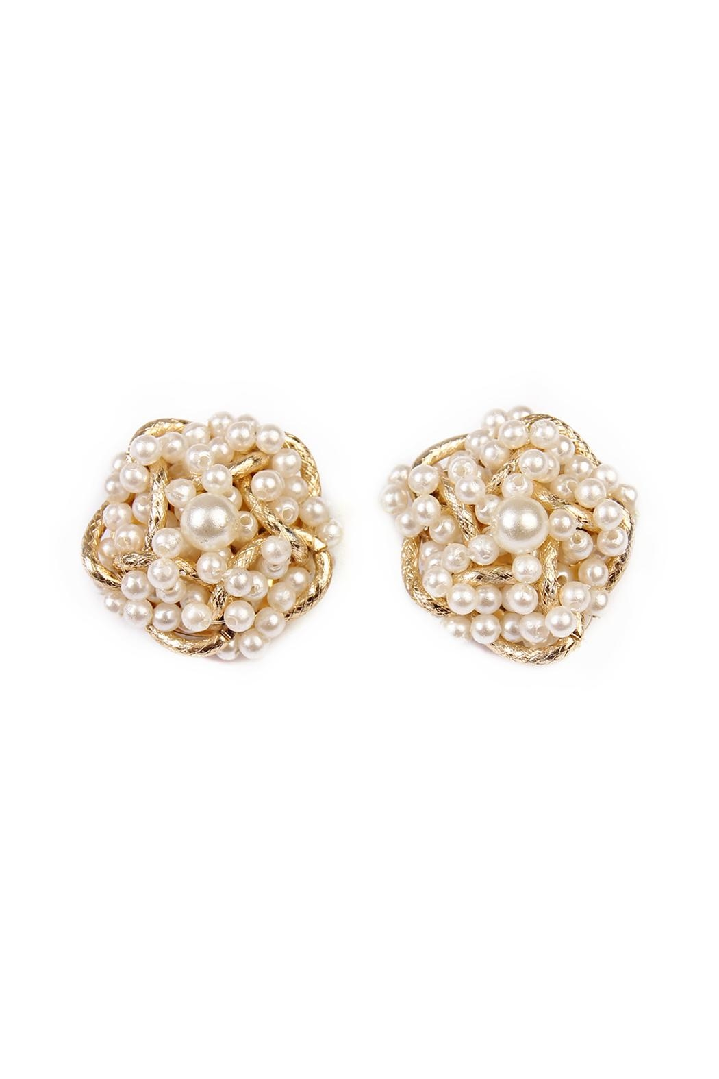 Riah Fashion Pearl Oversize Earrings - Front Cropped Image