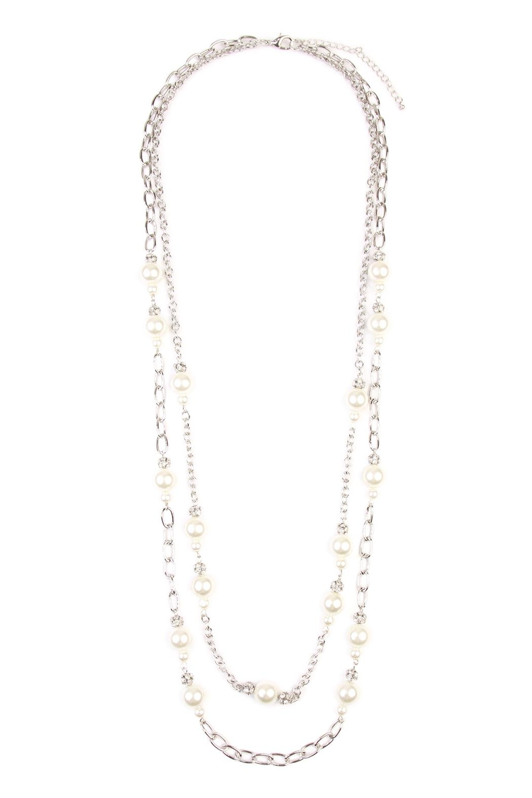 Riah Fashion Pearl & Silvertone-Layer-Necklace - Main Image