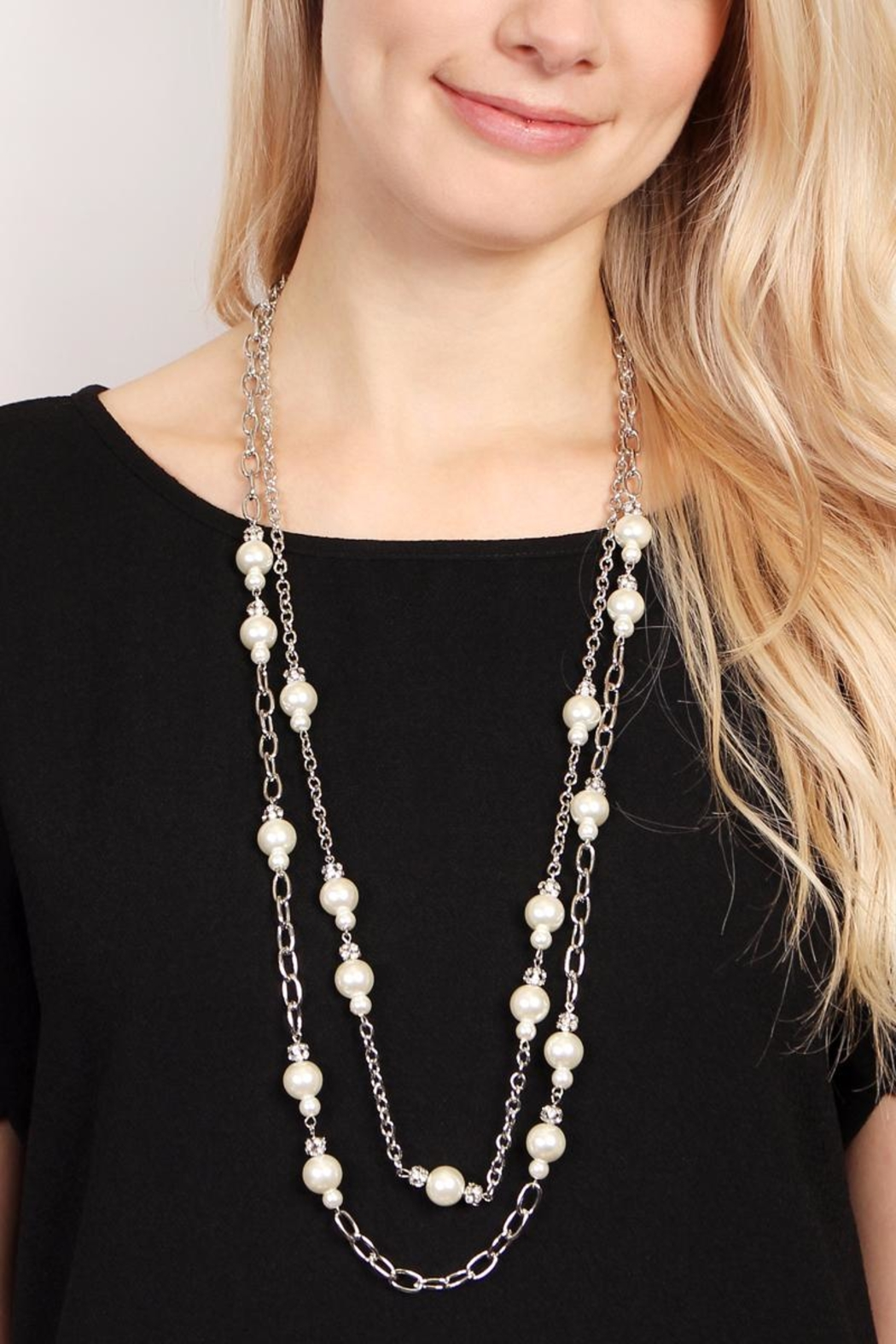 Riah Fashion Pearl & Silvertone-Layer-Necklace - Back Cropped Image