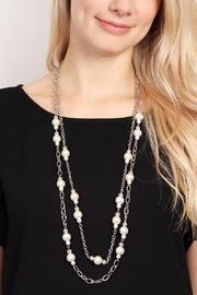 Riah Fashion Pearl & Silvertone-Layer-Necklace - Back cropped
