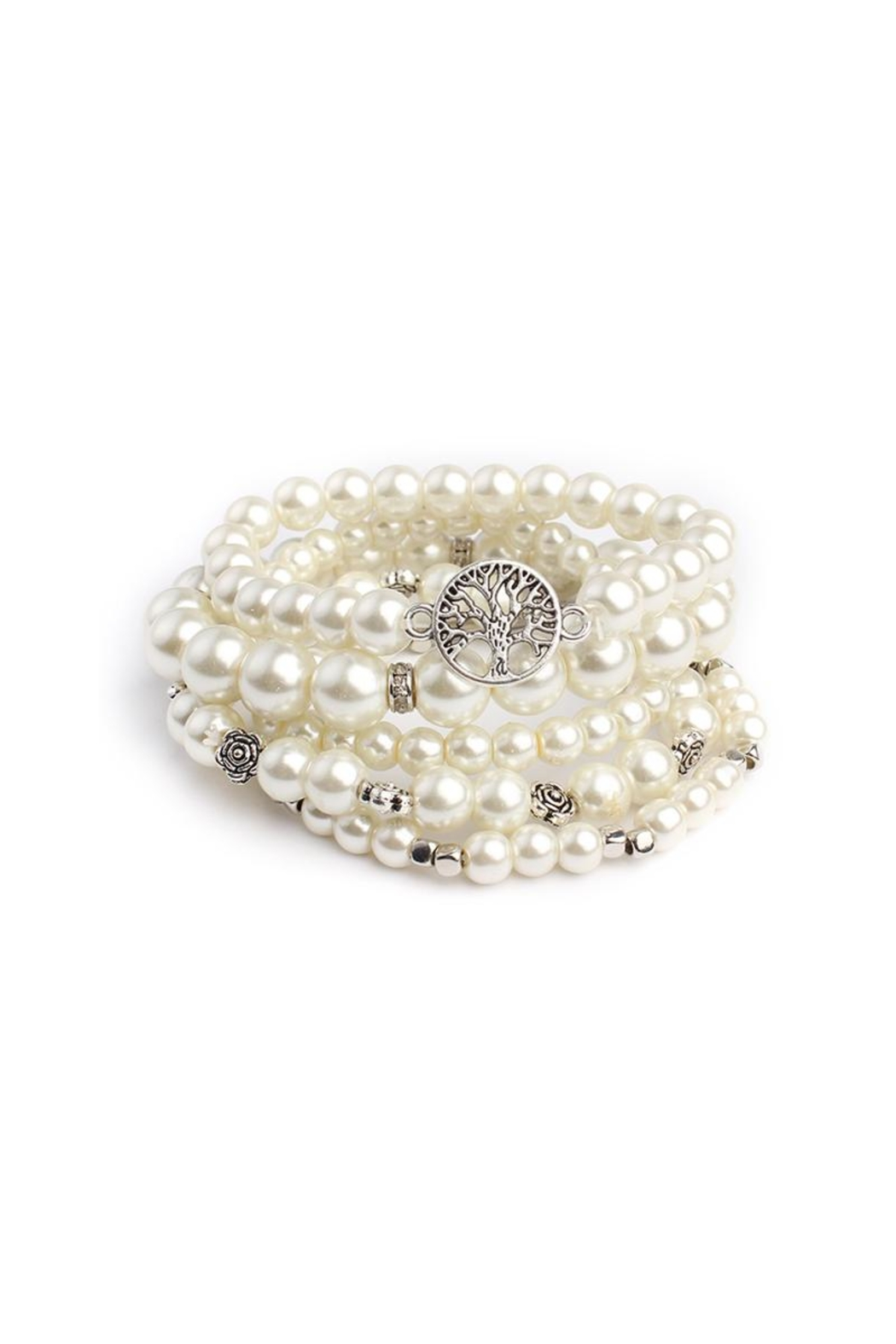 Riah Fashion Pearl Stretch Bracelet Set - Front Cropped Image