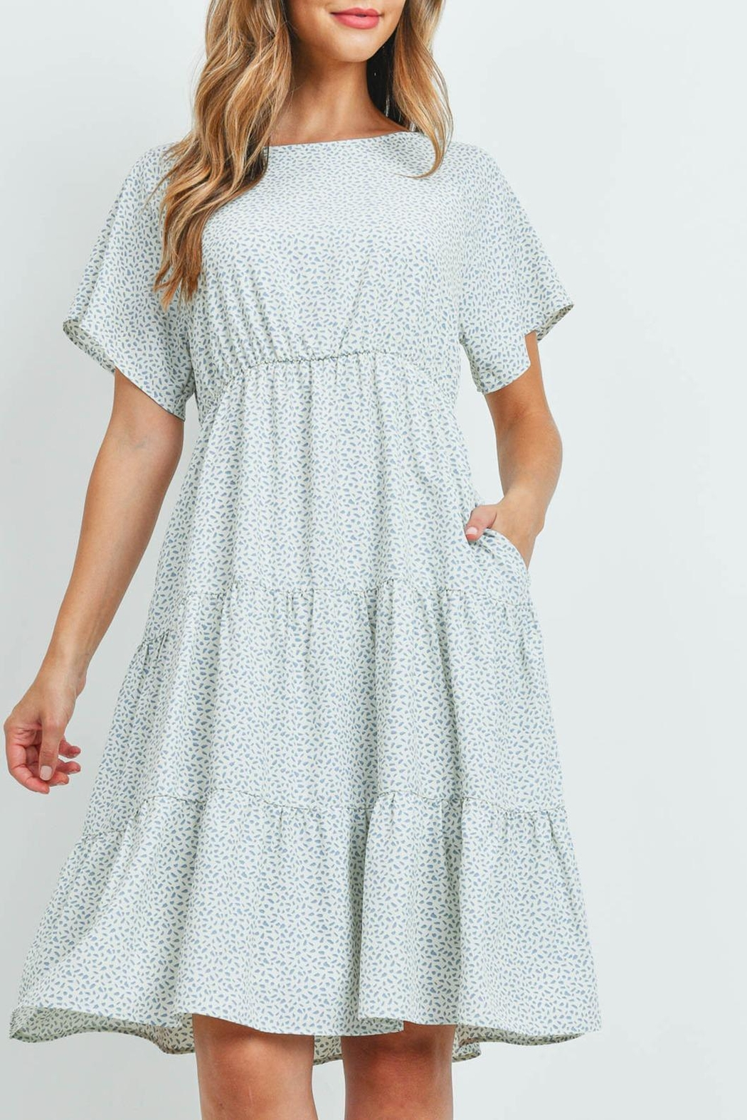 Riah Fashion Pebble-Print-Tiered-Ruffle-Dress - Front Cropped Image