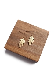 Riah Fashion Petite Leaf Earrings - Front cropped
