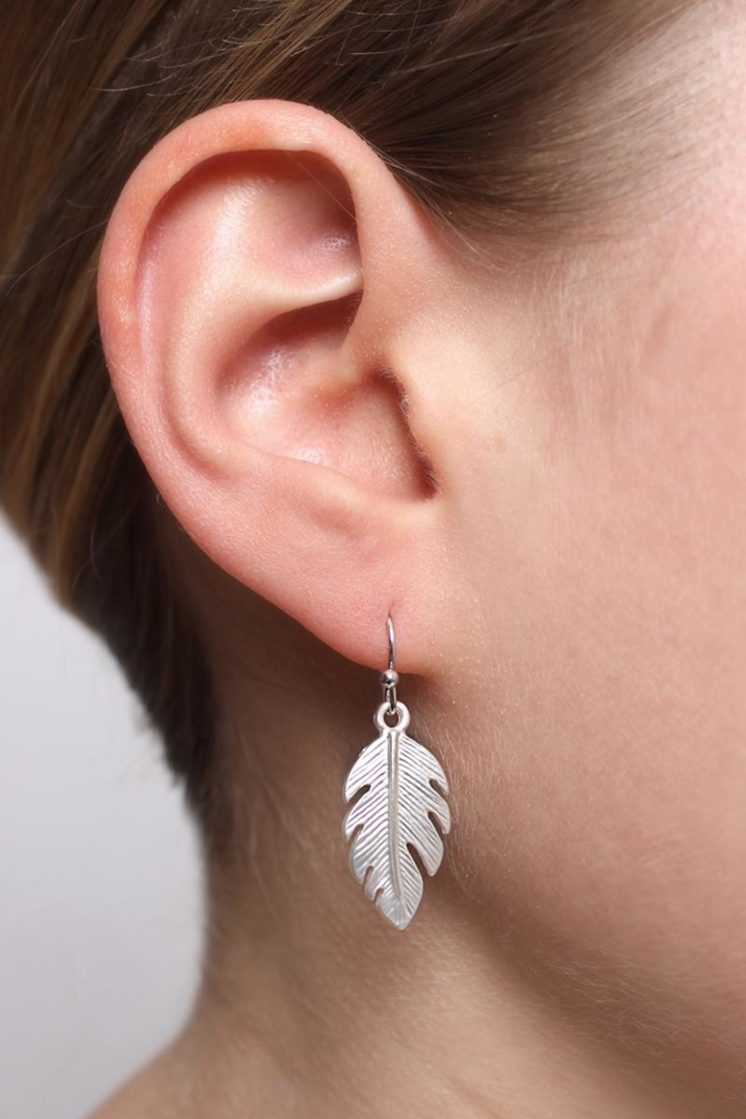 Riah Fashion Petite Leaf Earrings - Front Full Image