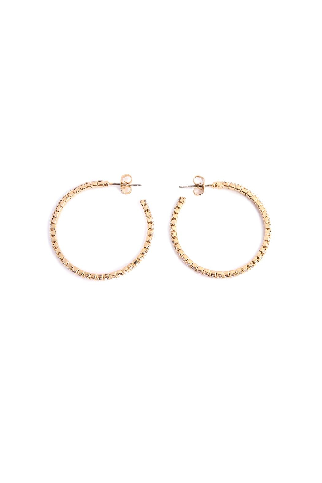 Riah Fashion Petite Rhinestone Hoop Earrings - Front Full Image