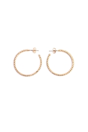 Riah Fashion Petite Rhinestone Hoop Earrings - Front full body
