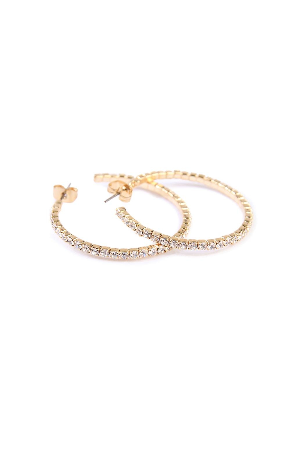 Riah Fashion Petite Rhinestone Hoop Earrings - Main Image