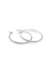 Riah Fashion Petite Rhinestone Hoop Earrings - Product Mini Image