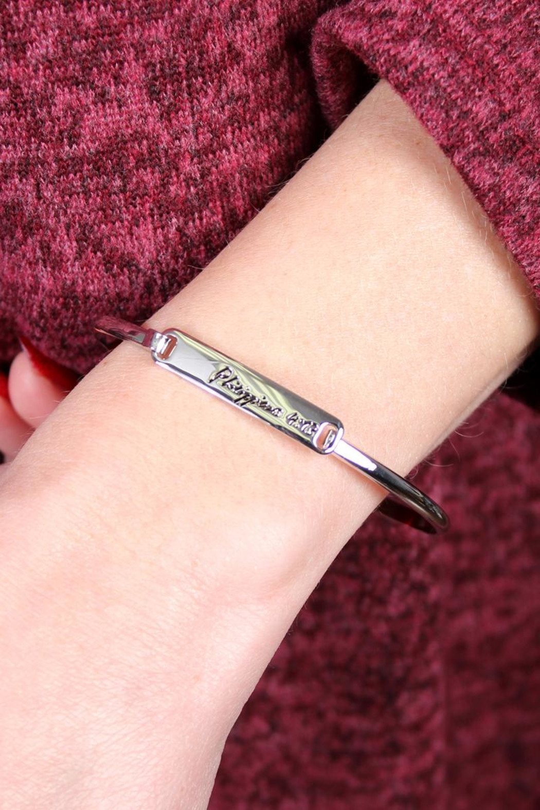Riah Fashion Philippians-Hinge Plated Bracelet - Front Full Image