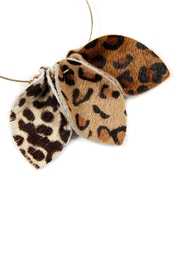 Riah Fashion Pinched-Animal Printed Leather-Hoop-Earrings - Product Mini Image