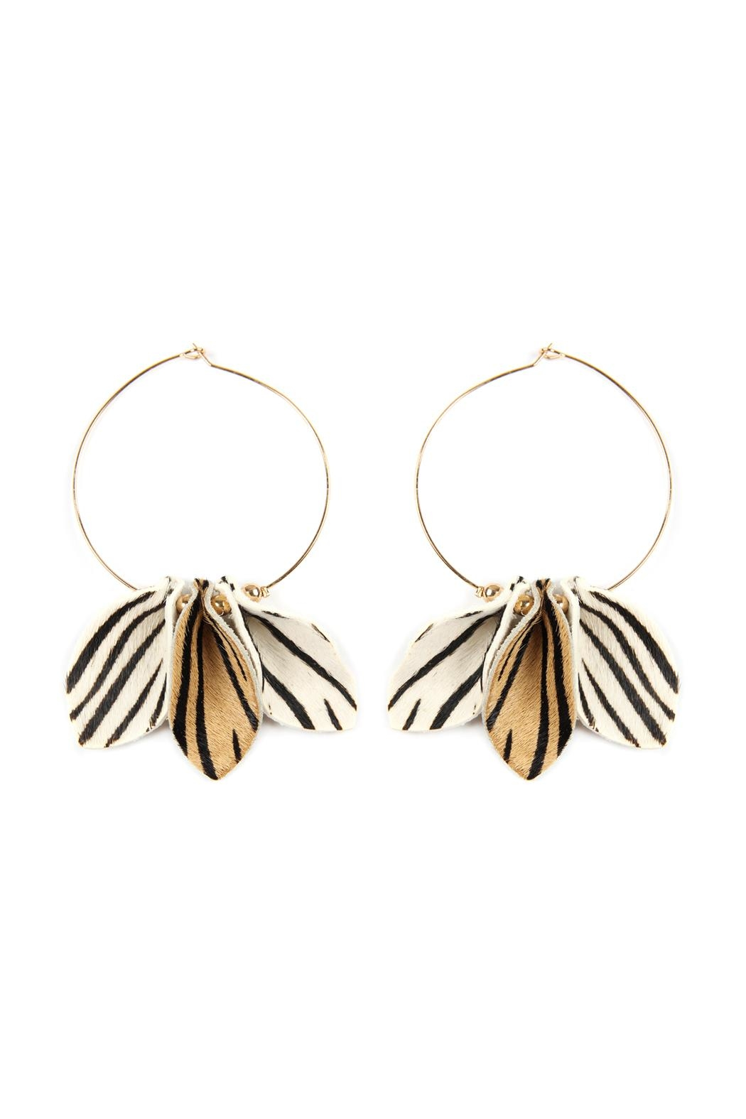 Riah Fashion Pinched-Animal Printed Leather-Hoop-Earrings - Front Full Image
