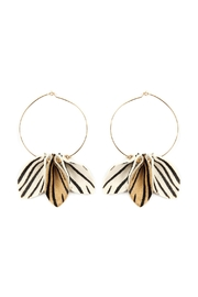 Riah Fashion Pinched-Animal Printed Leather-Hoop-Earrings - Front full body