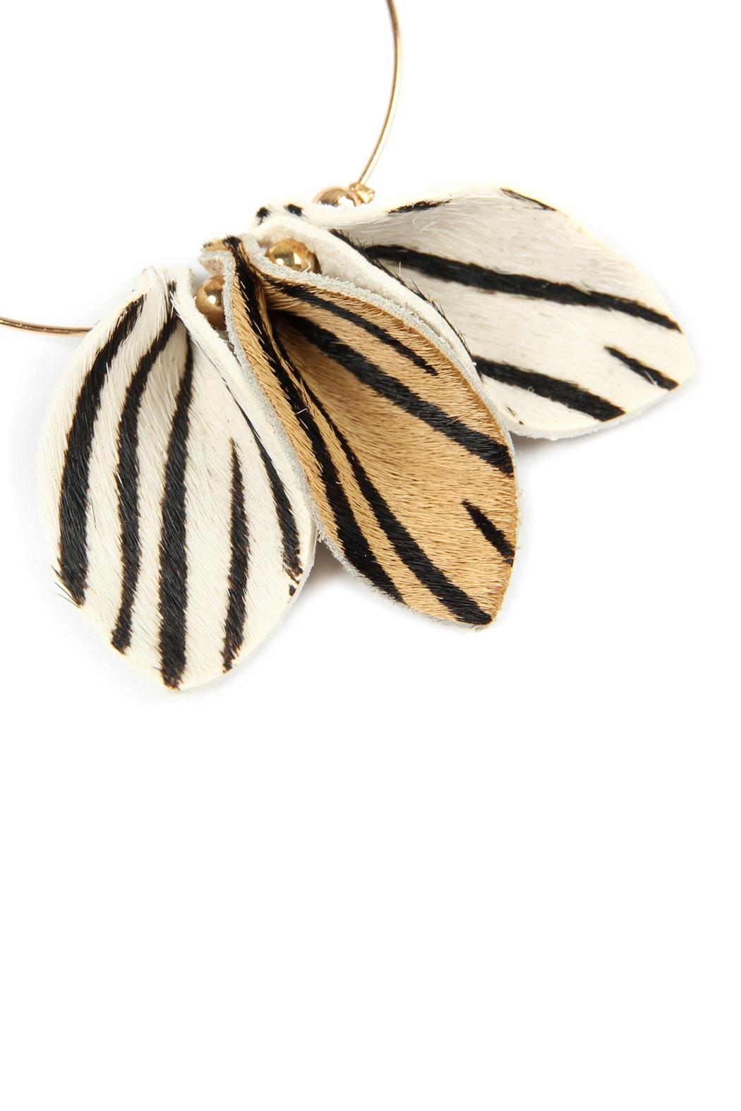 Riah Fashion Pinched-Animal Printed Leather-Hoop-Earrings - Front Cropped Image