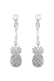 Riah Fashion Pineapple Dangle-Small Hoop-Earrings - Product Mini Image