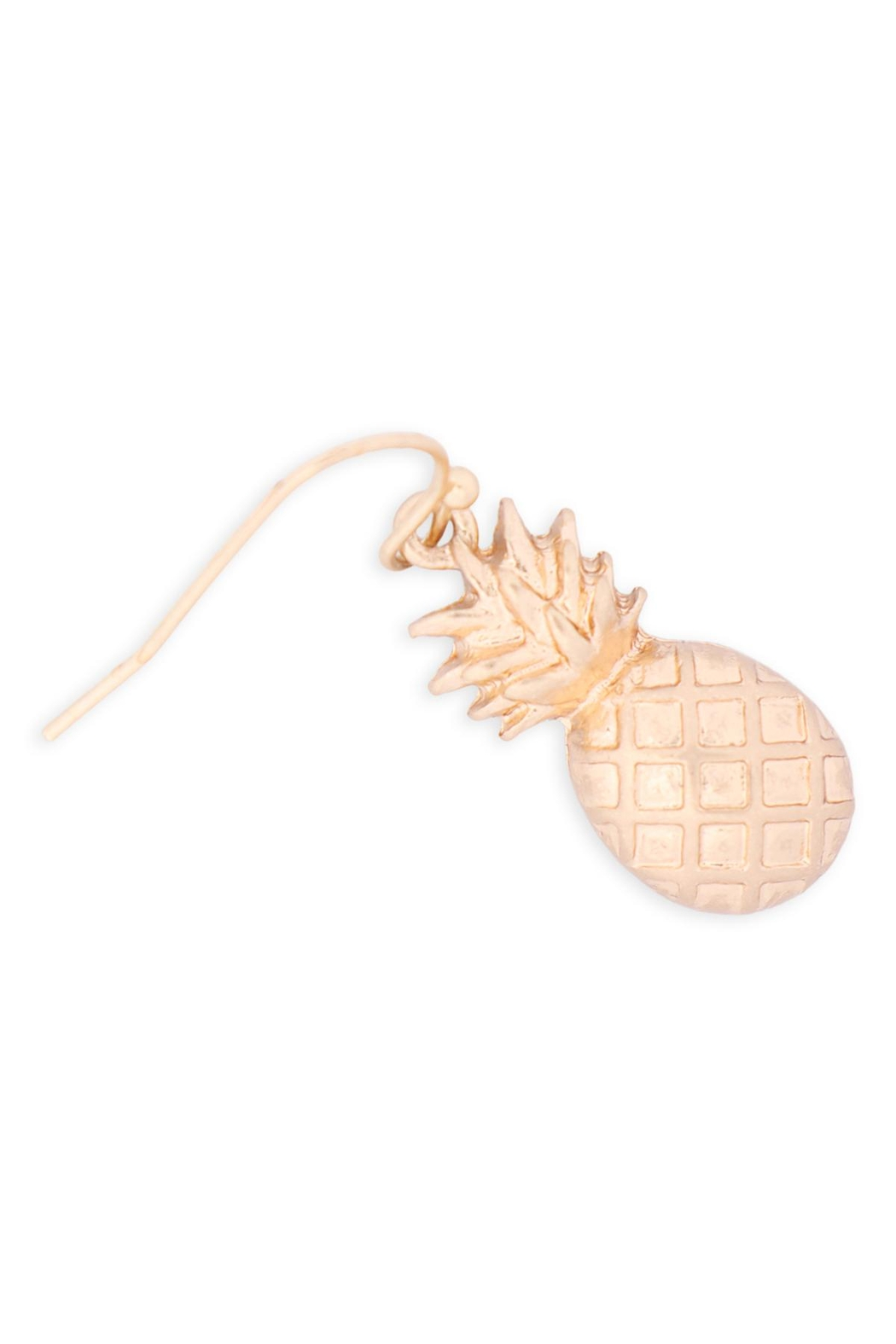 Riah Fashion Pineapple-Fish-Hook-Earrings - Front Full Image