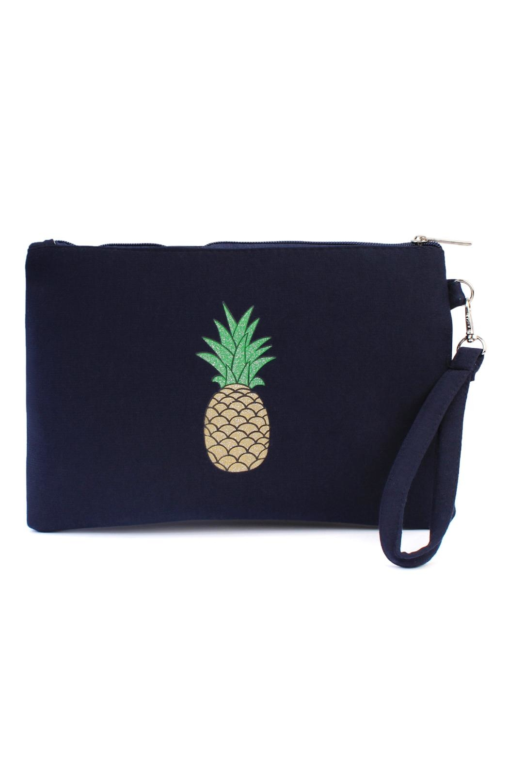 Riah Fashion Pineapple Print Cosmetic-Bag - Front Cropped Image