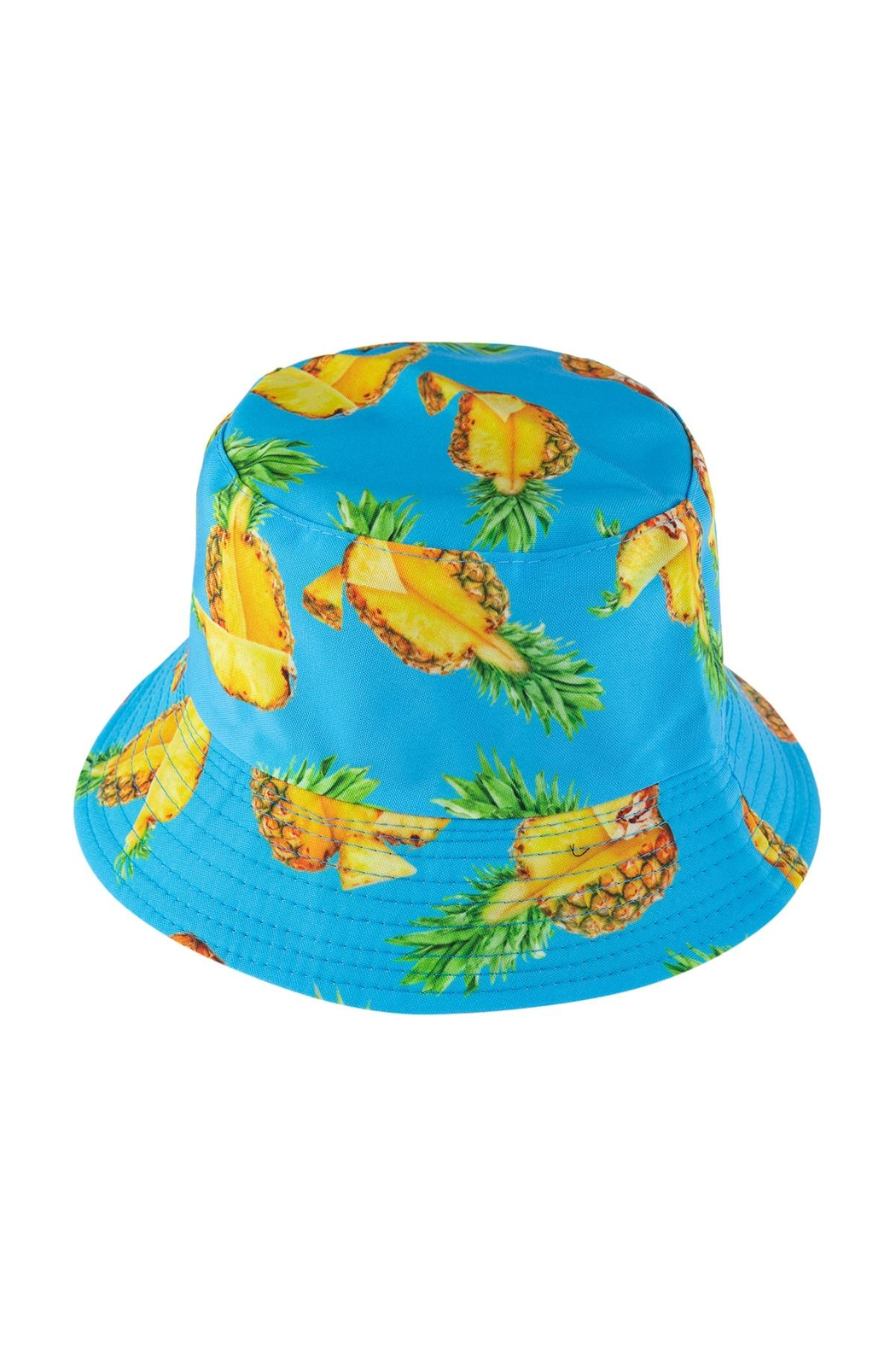 Riah Fashion Pineapple Print Double-Side-Wear Reversible Bucket Hat - Front Cropped Image