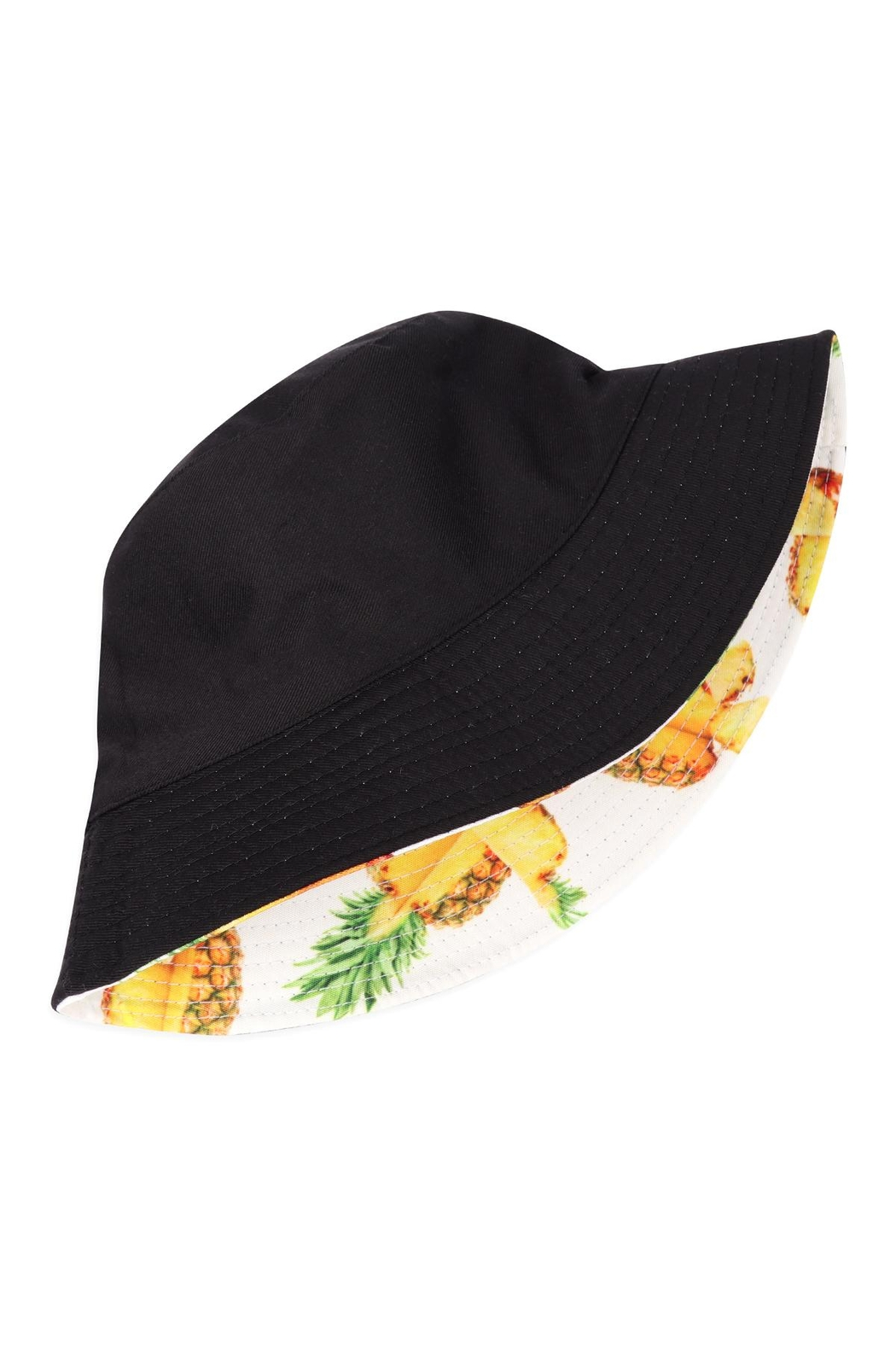 Riah Fashion Pineapple Print Double-Side-Wear Reversible Bucket Hat - Front Full Image