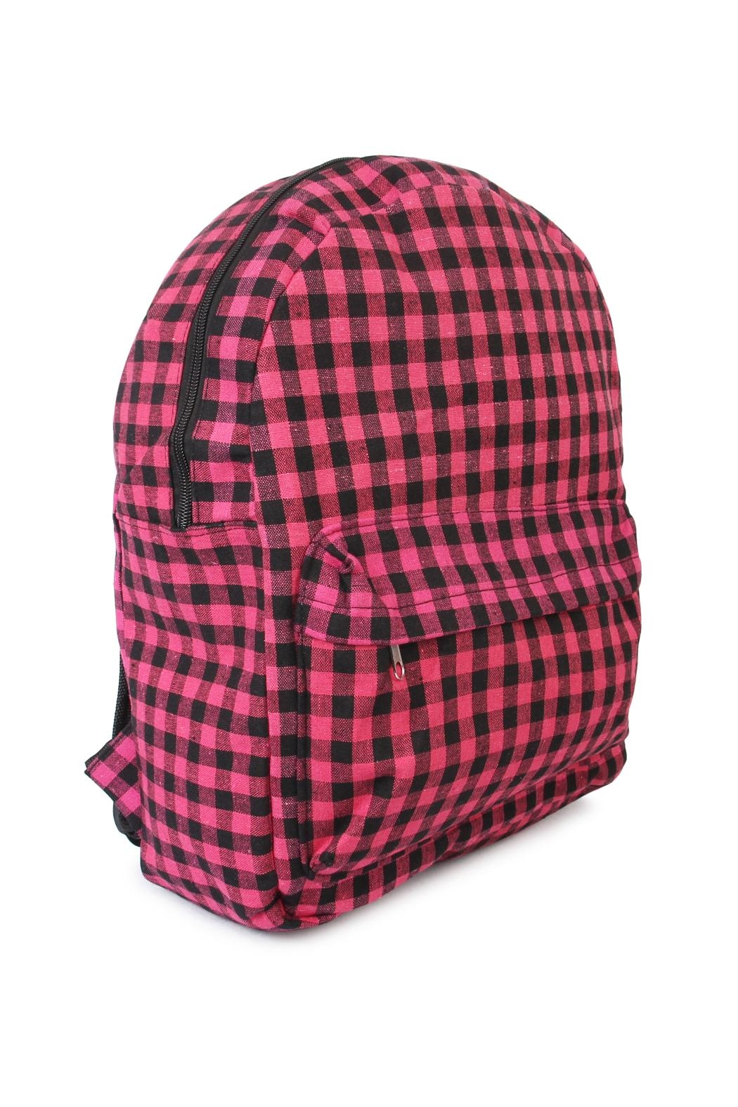 Riah Fashion Pink Checkered Backpack - Front Full Image