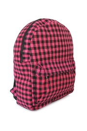 Riah Fashion Pink Checkered Backpack - Front full body