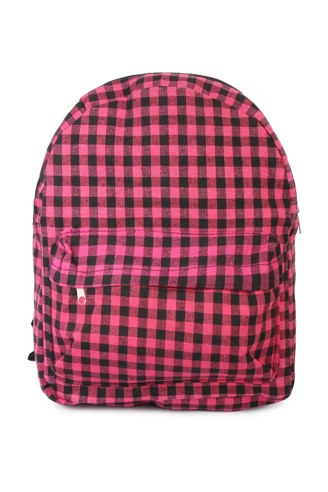 Riah Fashion Pink Checkered Backpack - Main Image