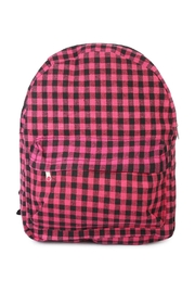 Riah Fashion Pink Checkered Backpack - Front cropped