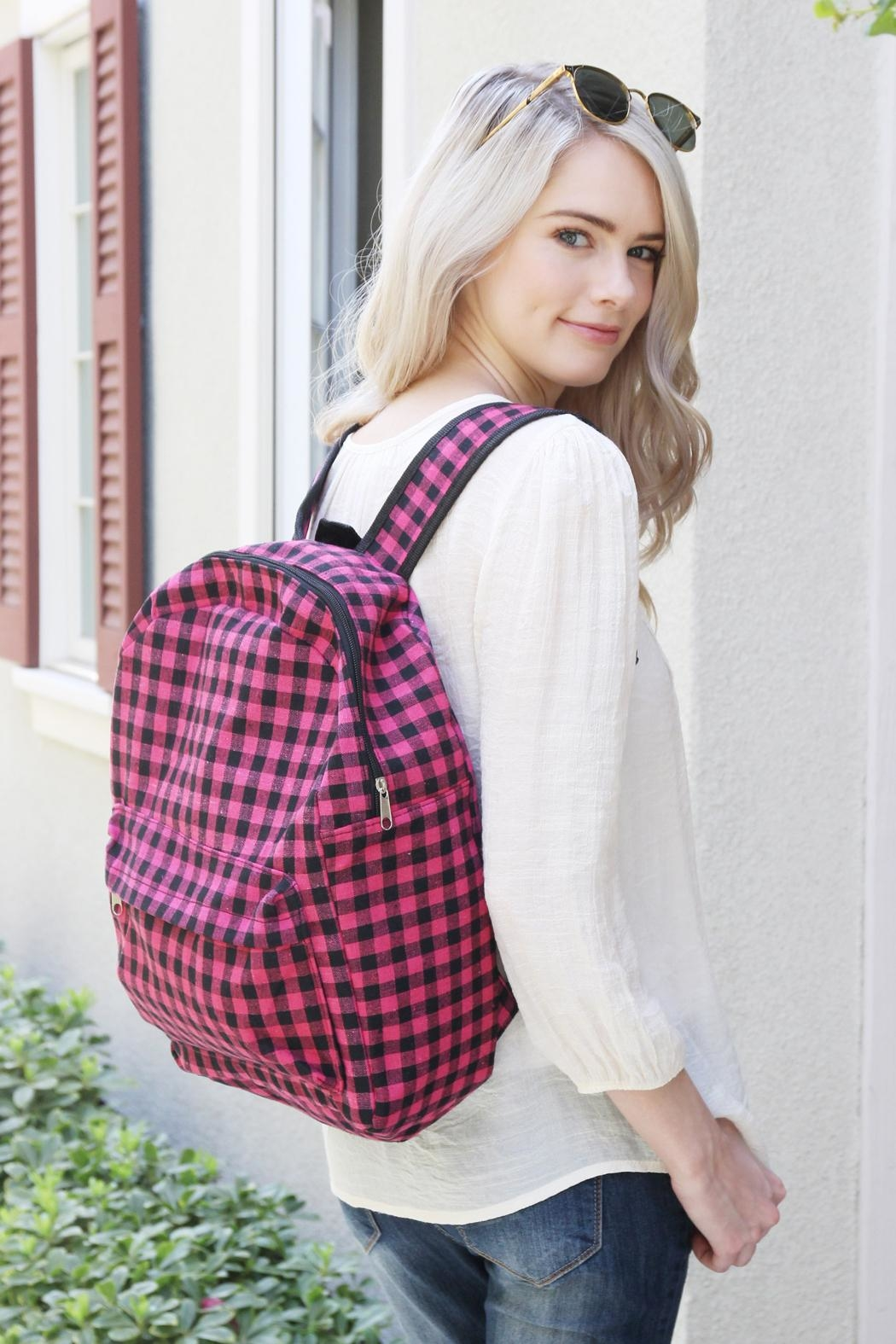 Riah Fashion Pink Checkered Backpack - Back Cropped Image