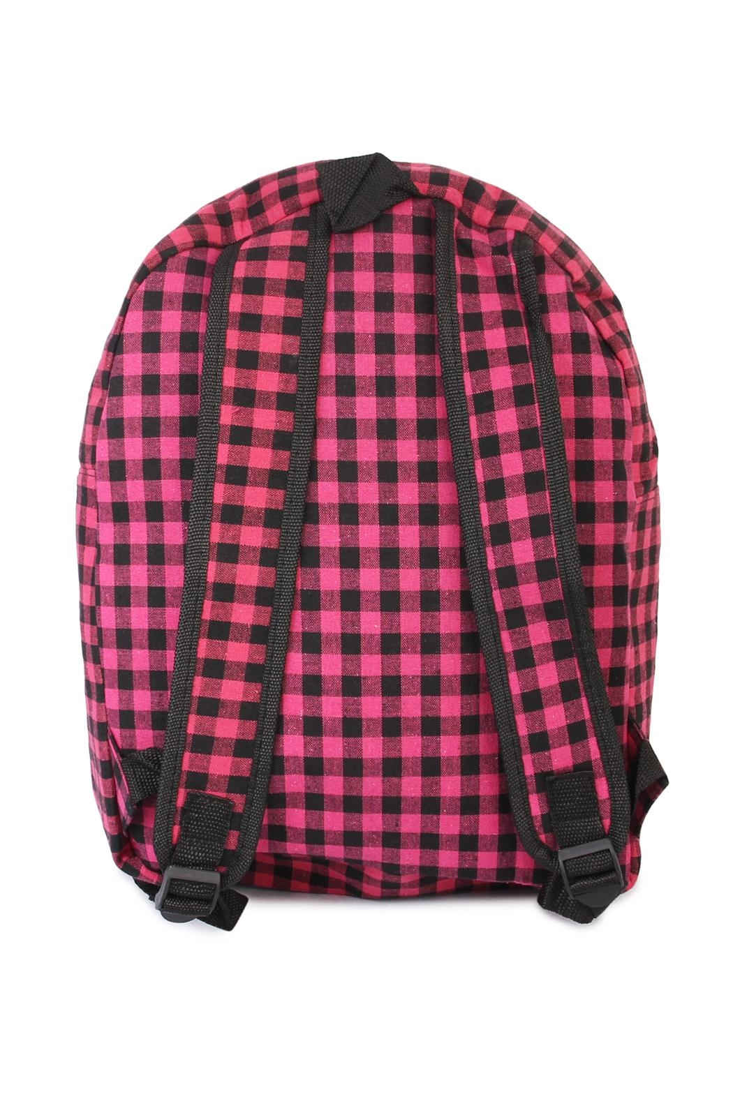 Riah Fashion Pink Checkered Backpack - Side Cropped Image