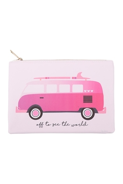 Riah Fashion Pink-Volkswagen-Print Pouch - Product List Image