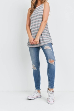 Riah Fashion Pink-With-Stripes-Top - Alternate List Image