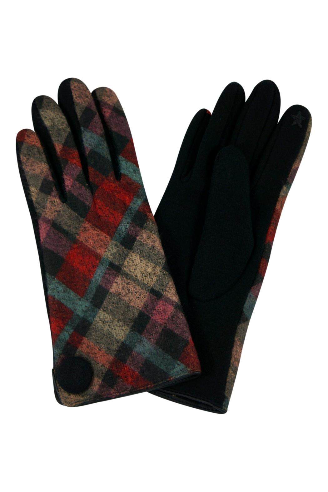 Riah Fashion Plaid-Button Smart Touch-Mittens - Main Image