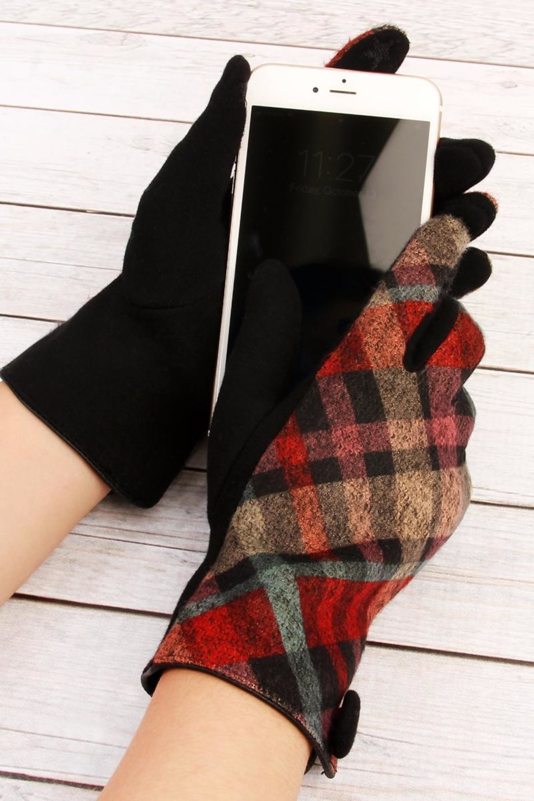 Riah Fashion Plaid-Button Smart Touch-Mittens - Front Full Image