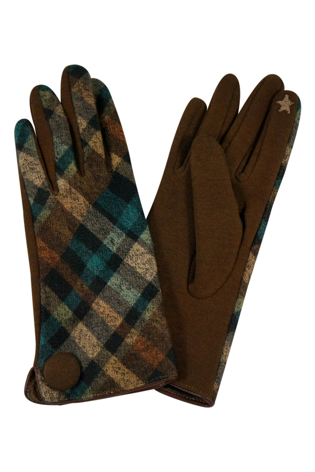 Riah Fashion Plaid-Button Smart Touch-Mittens - Front Cropped Image