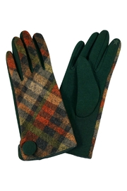 Riah Fashion Plaid-Button Smart Touch-Mittens - Front cropped
