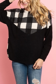 Riah Fashion Plaid-Contrast-Long-Sleeved-Brushed-Top - Product Mini Image