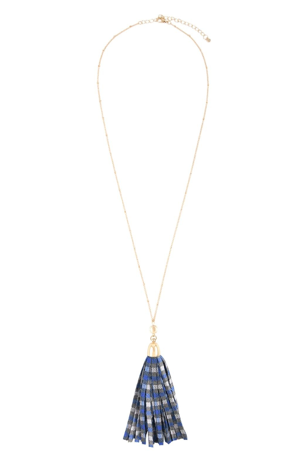 Riah Fashion Plaid Fabric Tassel-Necklace - Front Full Image