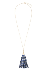 Riah Fashion Plaid Fabric Tassel-Necklace - Front full body