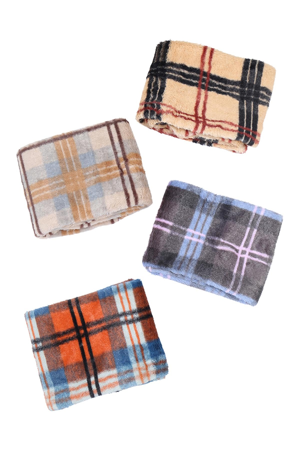Riah Fashion Plaid-Faux-Fur-Inifinity-Scarf-Assorted-Set - Front Full Image