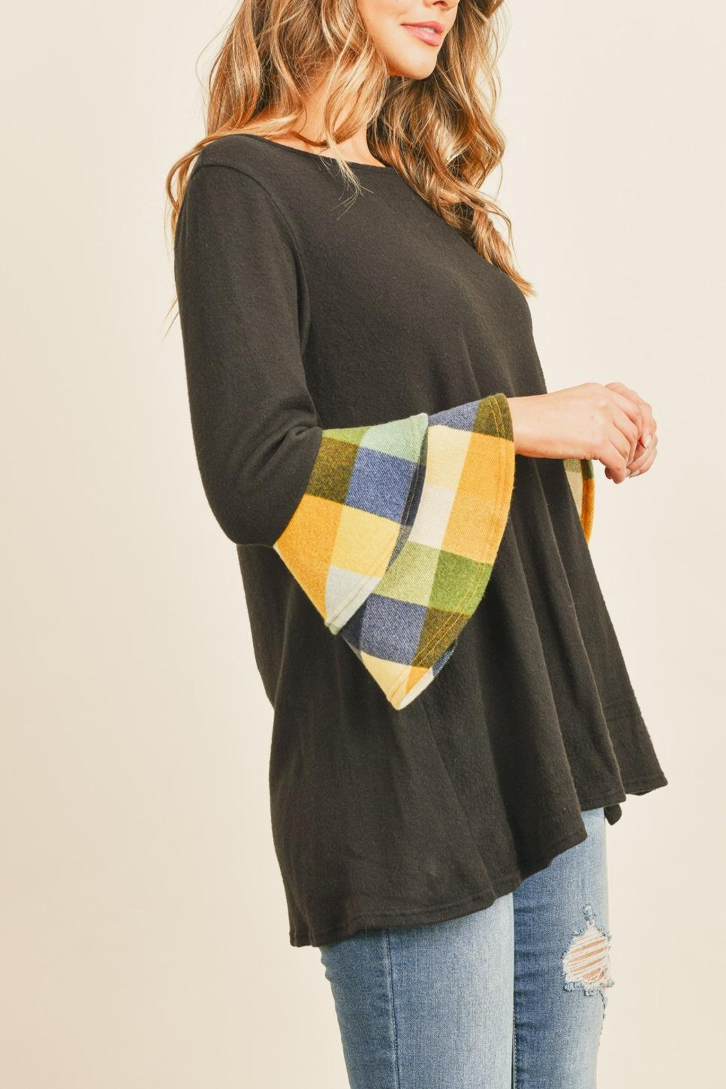 Riah Fashion Plaid-Layered-Bell-Sleeve-Boat-Neck-Solid-Top - Back Cropped Image