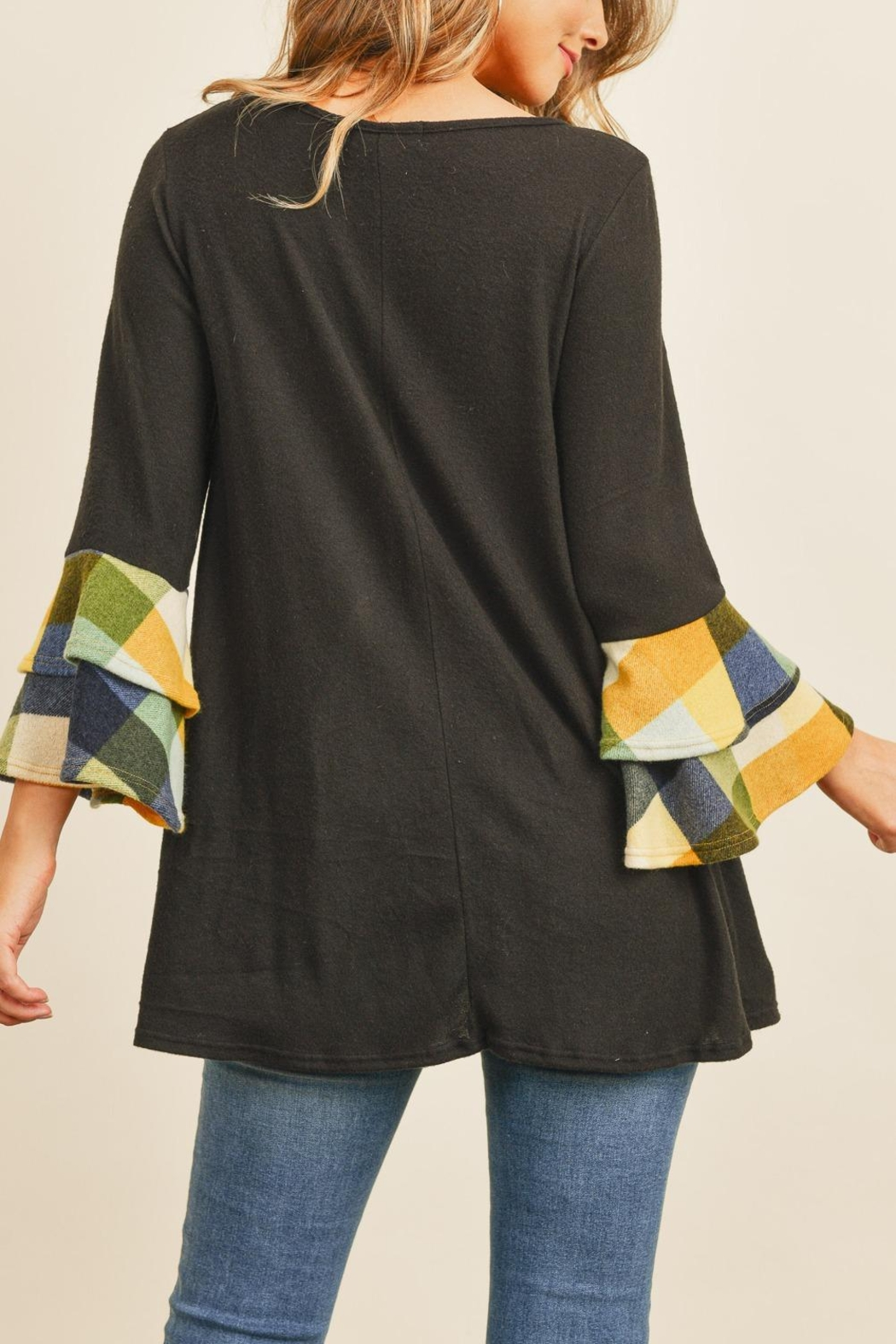 Riah Fashion Plaid-Layered-Bell-Sleeve-Boat-Neck-Solid-Top - Front Full Image